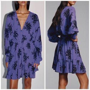 NEW Zara Floral Print Flowy Ruffle V-neck Dress XL